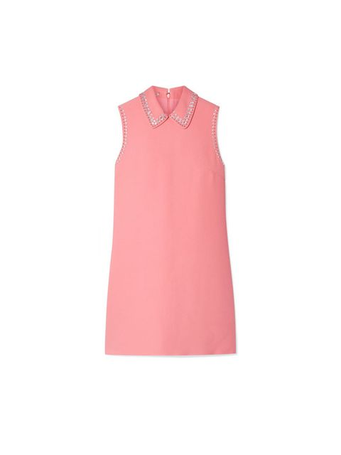 Clothing, Pink, Collar, Dress, Sleeveless shirt, Day dress, Neck, Outerwear, Sleeve, Peach,