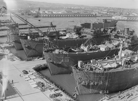 view of ships in shipyard
