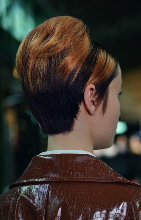 Hair, Hairstyle, Chin, Hair coloring, Bob cut, Brown hair, Crop, Layered hair, Asymmetric cut, Bangs,
