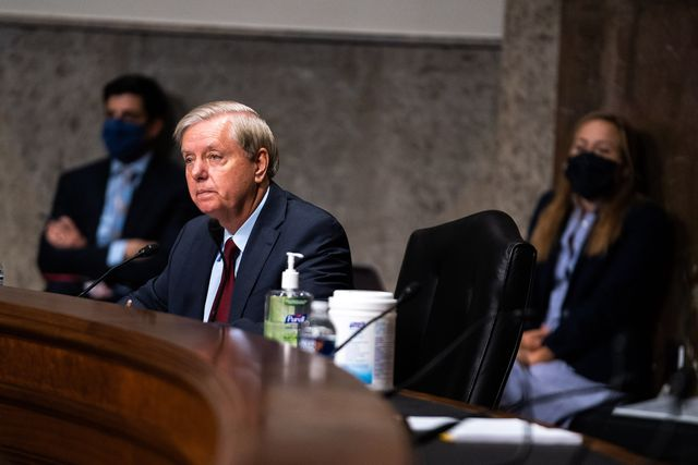washington, dc   september 16  sen lindsey graham r sc, speaks during a hearing of the senate appropriations subcommittee reviewing coronavirus response efforts on september 16, 2020 in washington, dc  photo by anna moneymaker poolgetty images