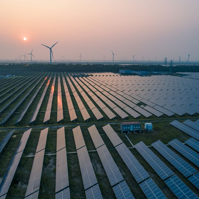 how do solar panels work, industrial landscape with different energy resources sustainable development net zero