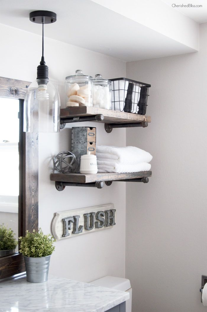 floating shelves for small bathroom