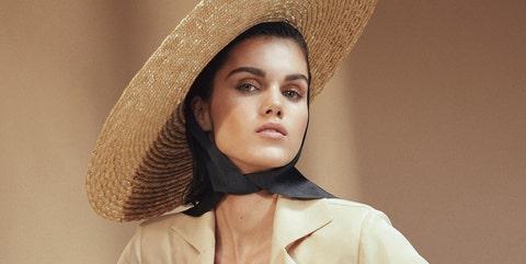 Clothing, Hat, Skin, Beauty, Lip, Sun hat, Fashion, Beige, Headgear, Fashion accessory,