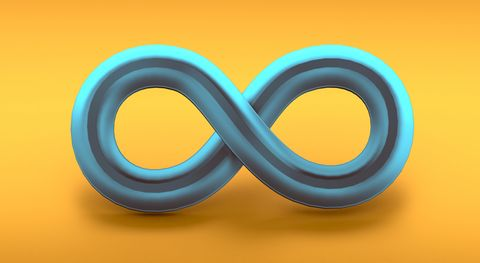infinite symbol in 3d on orange background