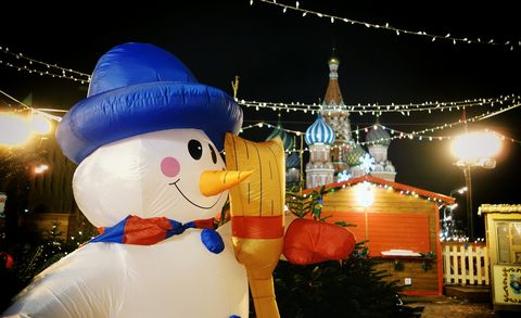 Inflatable Snowman At Red Square During Christmas
