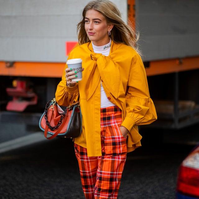 Plaid, Street fashion, Orange, Clothing, Yellow, Fashion, Pattern, Tartan, Design, Outerwear,
