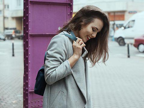 Coat, Outerwear, Street fashion, Bag, Purple, Blazer, Luggage and bags, Snapshot, Pocket, Sidewalk,