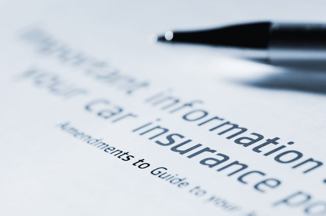 information for car insurance document with pen