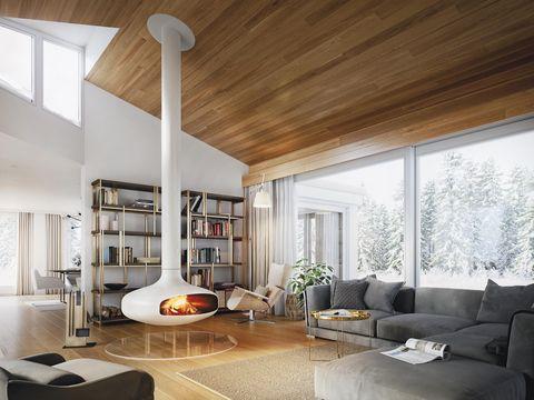 salón con chimenea suspendida de diseño