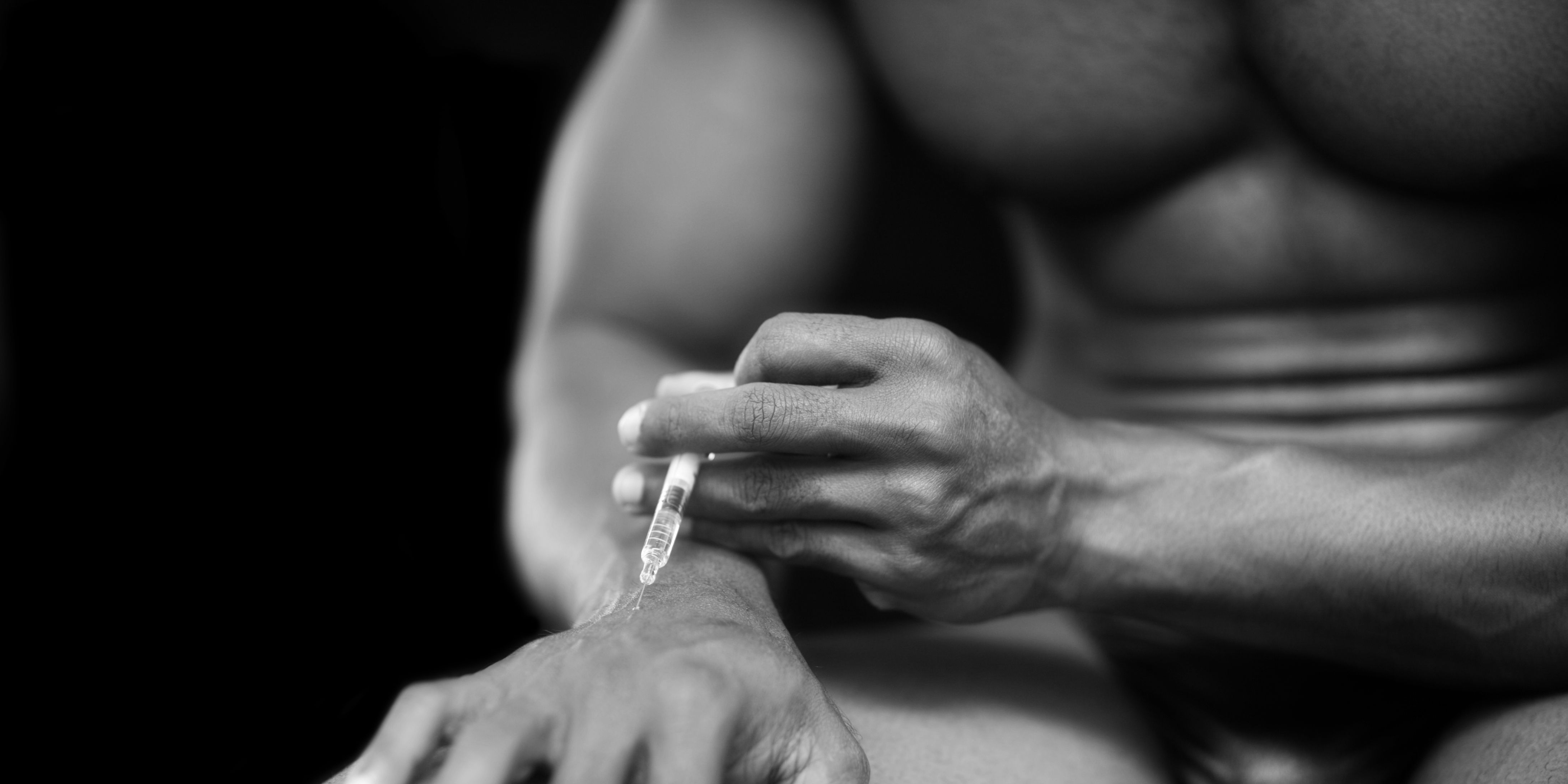 injecting steroids or drugs