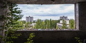 Inside the hotel in abandoned Pripyat city in Chernobyl Exclusion Zone, Ukraine