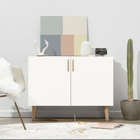Furniture, White, Desk, Table, Room, Interior design, Chair, Sideboard, Material property, Chest of drawers,