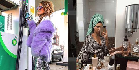 Clothing, Green, Purple, Skin, Fashion, Violet, Street fashion, Boutique, Outerwear, Headgear,