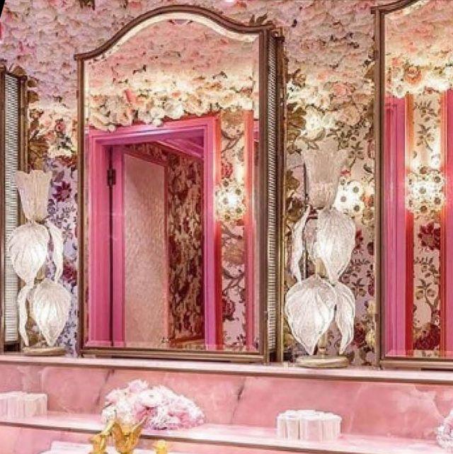Pink, Room, Interior design, Furniture, Tile, Floor, Flooring, Material property, Living room, Chair,