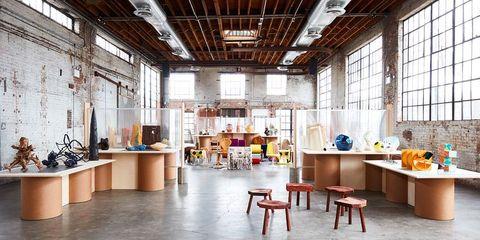 Building, Interior design, Furniture, Room, Ceiling, Architecture, Loft, Design, Table, House,