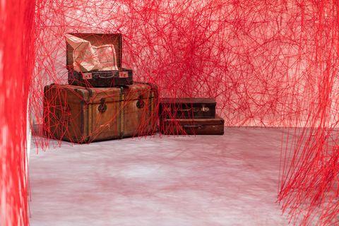 Red, Pink, Room, Interior design, Magenta, Furniture,