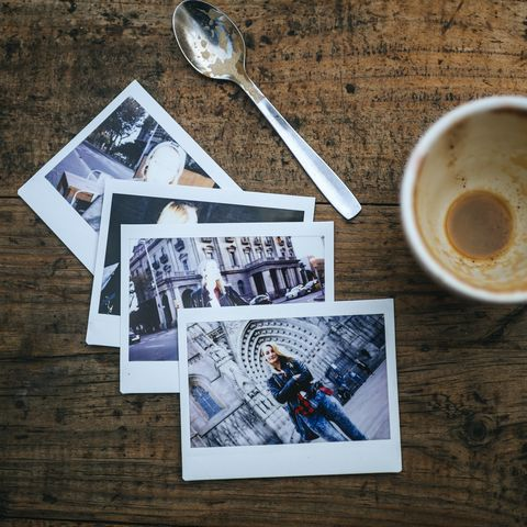 instant photos of woman on cafeteria table