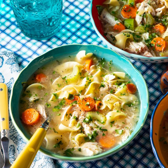 instant pot chicken noodle soup recipe with carrots celery onions noodles and fresh herbs