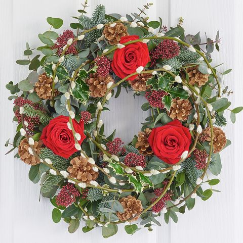 Festive Red Rose Door Wreath Christmas