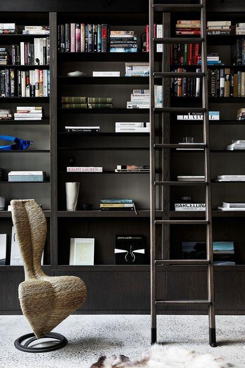 black modern bookshelf