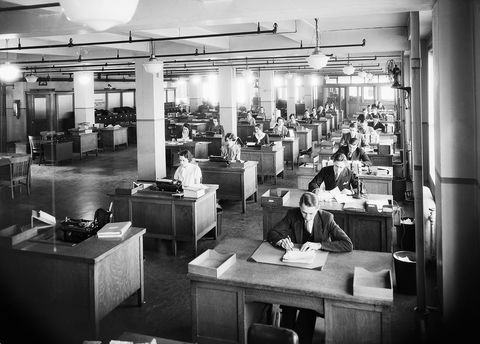 workers in business office