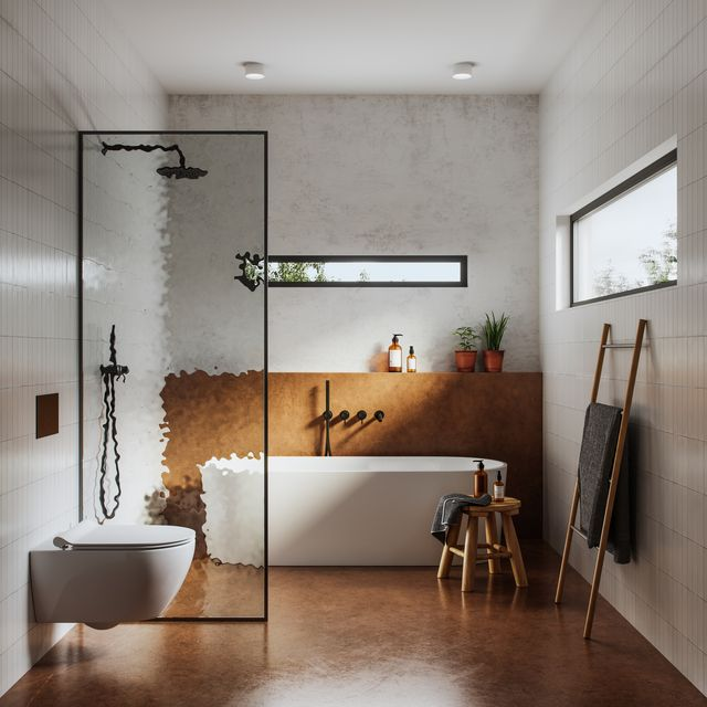 interior of bathroom with tub, shower, and toilet