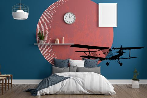 interior of modern bedroom with wall theme