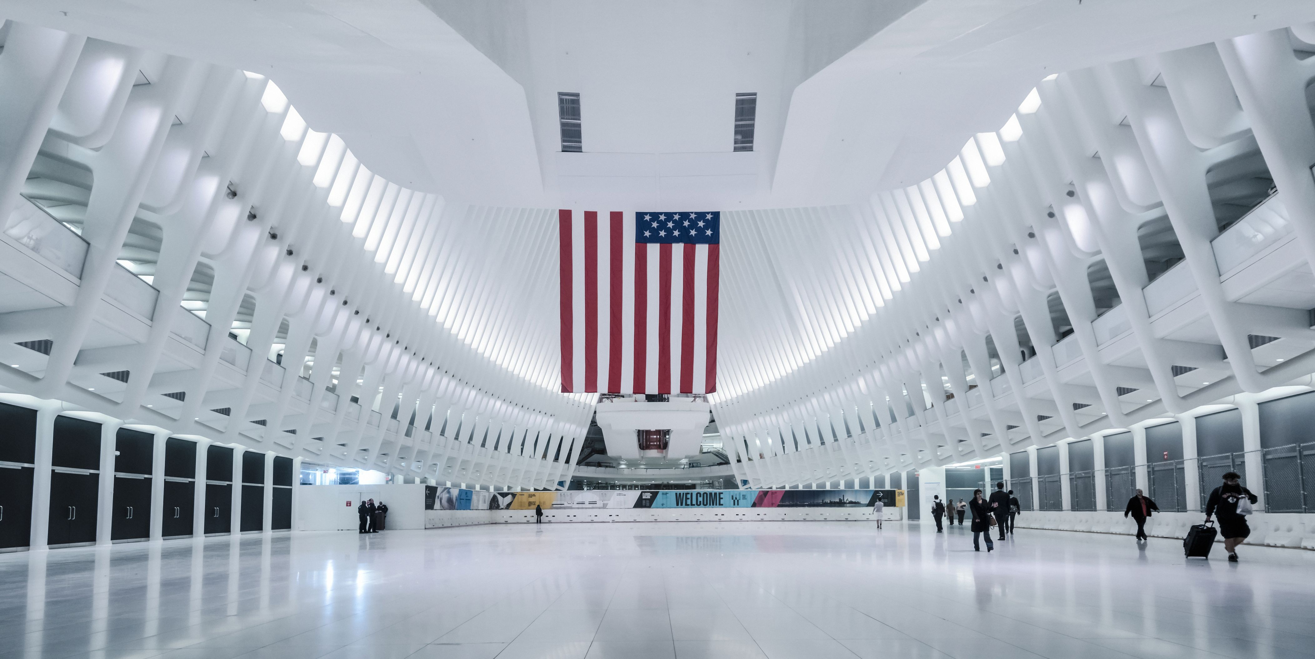 Interior of Oculus train station, New York, USA