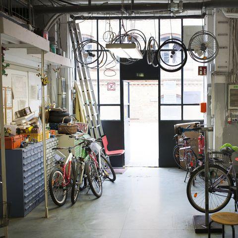 Interior Shot Of Bike Workshop