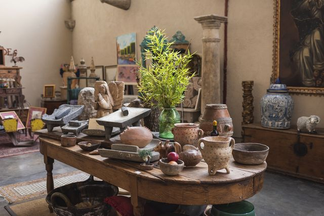 interior view of antique store in mexico