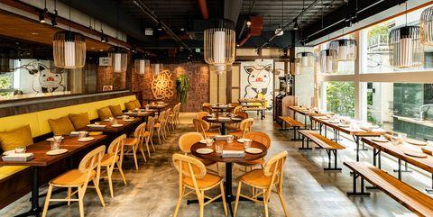 Restaurant, Building, Interior design, Room, Cafeteria, Table, Café, Dining room, Furniture, Coffeehouse,