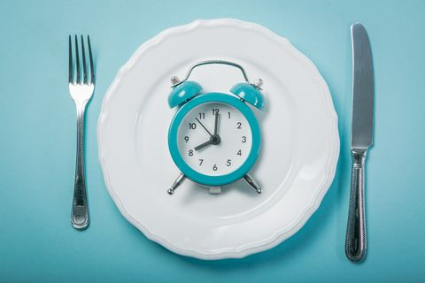 Intermittent fasting concept - empty plate on blue background