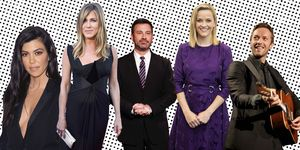 Kourtney Kardashian, Jennifer Aniston, Jimmy Kimmel, Reese Witherspoon en Chris Martin.