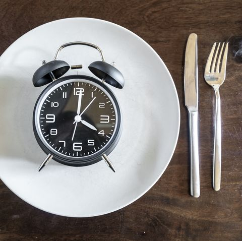 Intermittent fasting, trend 16:8 fasten, alarm clock on plate