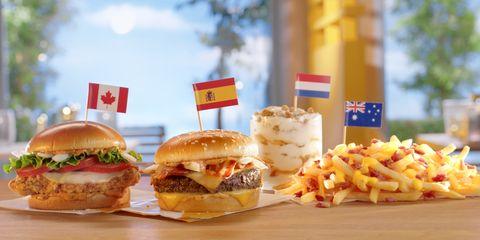 Dish, Food, Junk food, Fast food, Hamburger, Cuisine, Cheeseburger, Slider, Kids' meal, Breakfast sandwich,