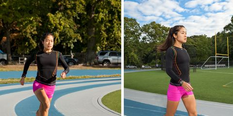 Girl Walking and Jogging on Track
