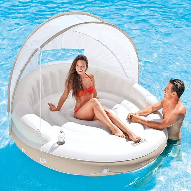 intex inflatable canopy island pool float