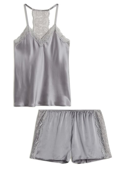 intimissimi pretty something top and shorts in grey silk