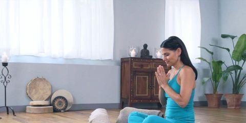 Relaxing yoga pose to help balance hormones