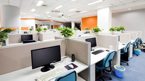 office with cubicles and desks