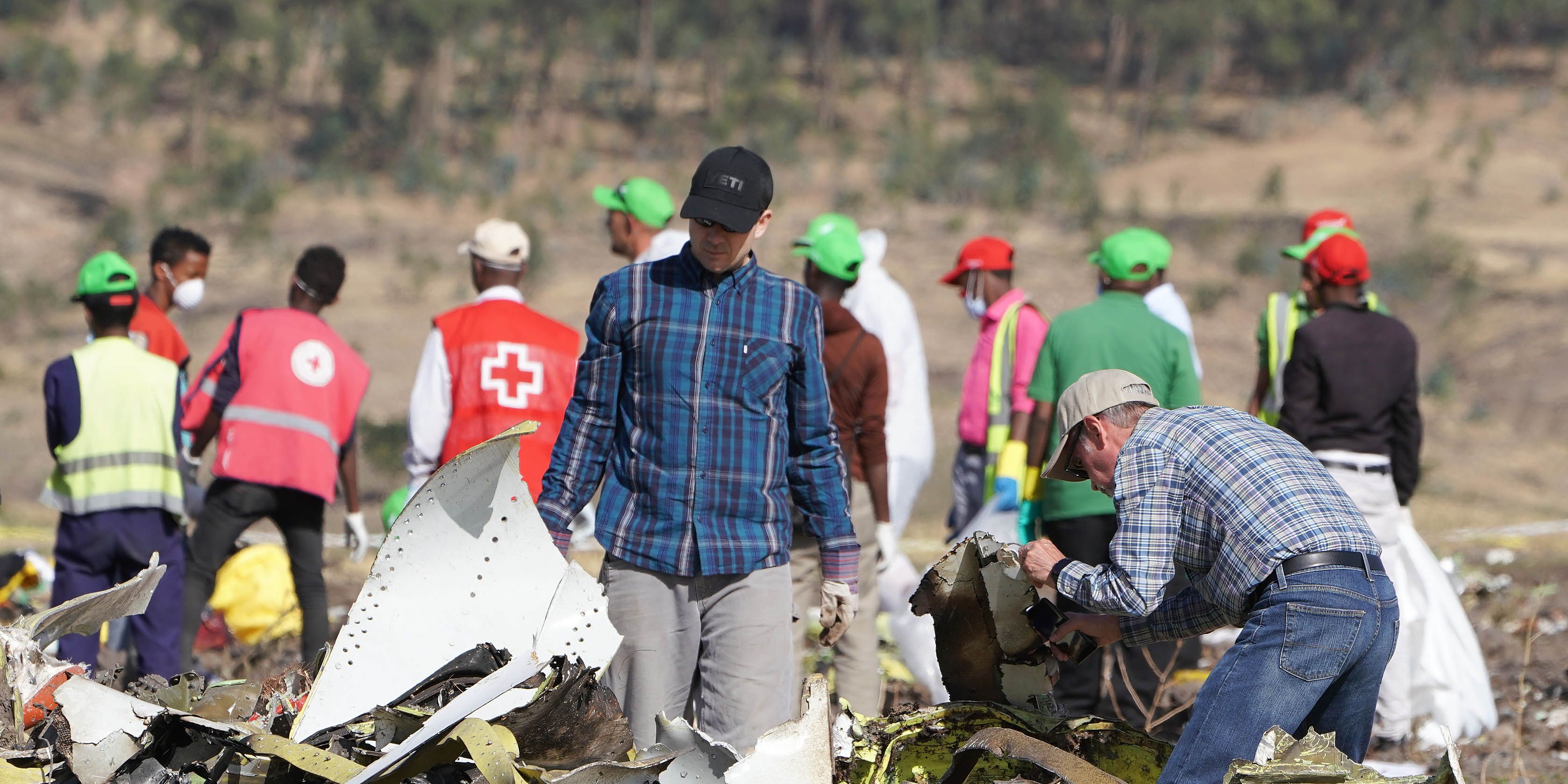 Emergency Services Work At The Crash Site Near Bishoftu Of Ethiopian Airlines ET302 To Nairobi