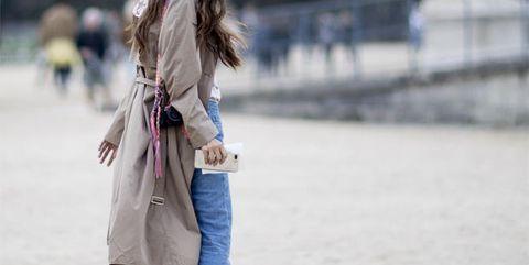Clothing, Street fashion, White, Jeans, Coat, Fashion, Shoulder, Outerwear, Denim, Snapshot,