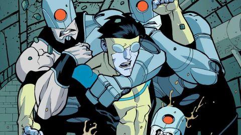 invincible luchando contra tres cyborgs en el episodio 6 de la serie de amazon prime video