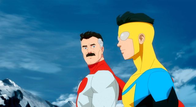 nolan y mark grayson, omni man e invincible en una escena de la serie de amazon prime video invincible