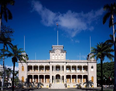 """Iolani Palace"" in the capitol district of downtown Honolulu, Hawaii"