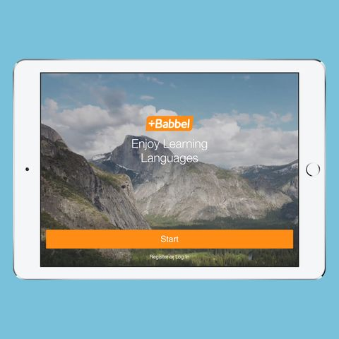 Babbel app on a white iPad against a light blue background