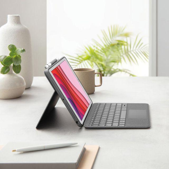 logitech ipad keyboard case on desk