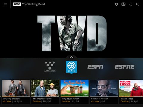 tv screen with sling tv and the walking dead