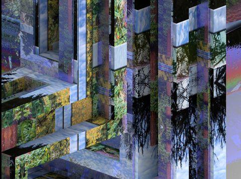 Tree, Purple, Architecture, Wall, Design, Textile, Art, Plant, Visual arts, House,