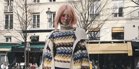 Clothing, Street fashion, Photograph, Fashion, Scarf, Snapshot, Yellow, Outerwear, Footwear, Jeans,